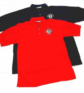 MM CLub polo shirts navy and red