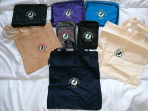 MM Club tablet holders and tote bags