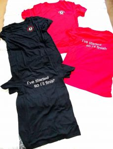 MM club t shirts navy and red
